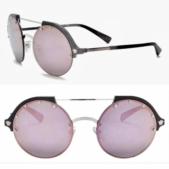 aac561e52c0c2f Versace Round stud half rim sunglasses